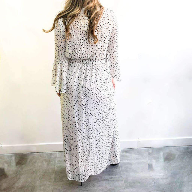 Polka Dot XXVI London White Maxi Dress Back View