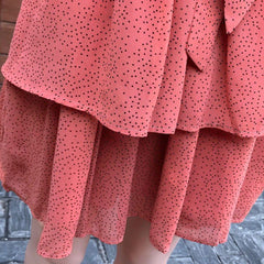 Holy Polka Dot Tiered Frill Detail Pink Mini Dress