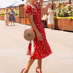 Printed Red Wrap Dress
