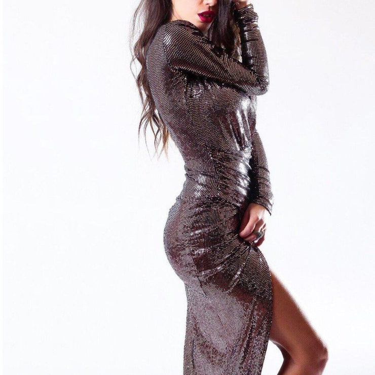 Rose Gold Wrap Over Sequin Party Dress - John Zack