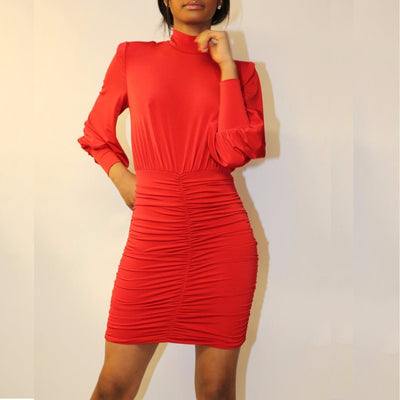 Ruched Bodycon Red Dress with Split Back - John Zack