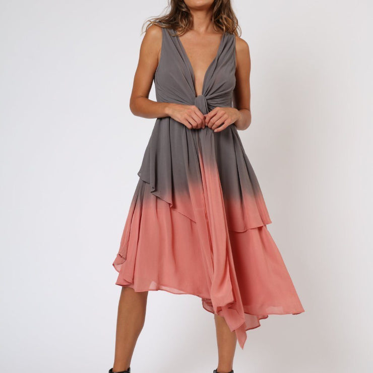 Salvation Grey and Rose Pink Religion Dress Front View