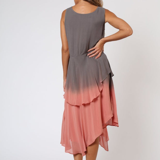 Salvation Grey and Rose Pink Religion Dress Back View