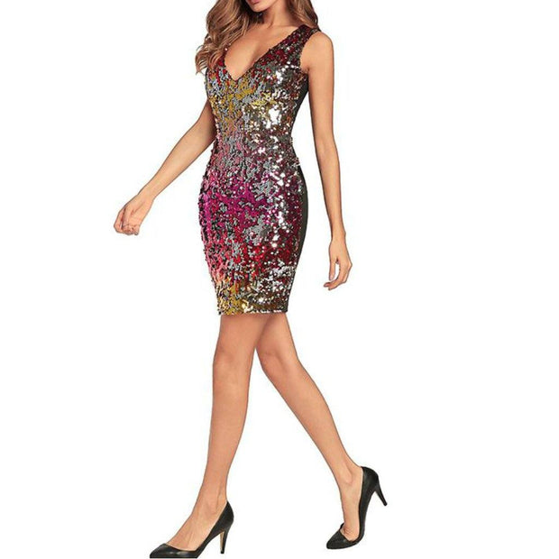 Sequin multicoloured holographic dress