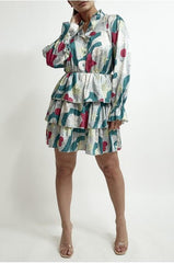 Women's Mint Printed Tiered Dress