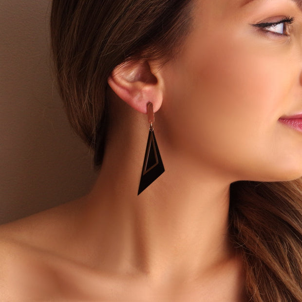 Black & Rose Gold Titanium Earrings