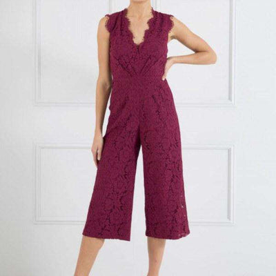 Millie Forever Unique Jumpsuit Front View Wine