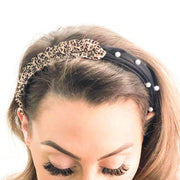 Animal Print Headband With Pearls Black & Tan Front View