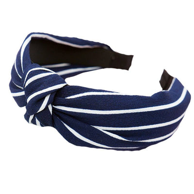 Stripe Blue and White Stripe Fabric Hair Band