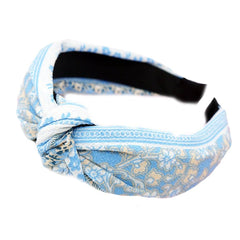 Sky Blue Vintage style floral knot Hair Band