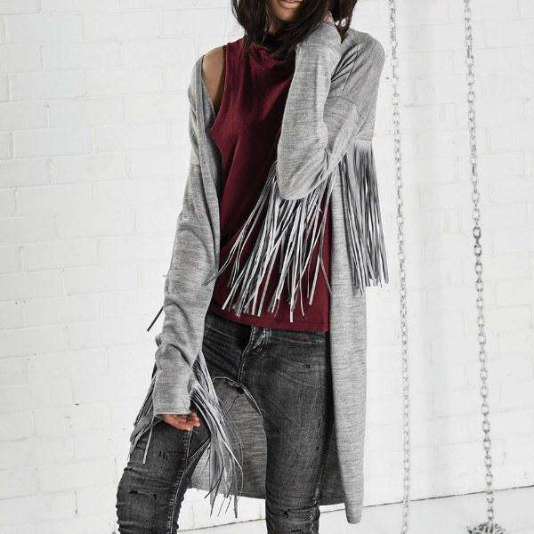 THE SLOAN FRINGED ONEXONETEASPOON COAT FRONT VIEW