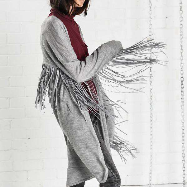 THE SLOAN FRINGED ONEXONETEASPOON COAT SIDE VIEW