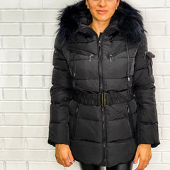 Women's Attentif Paris Black Layered Natural Fur Hood belt Puffer Zip Jacket