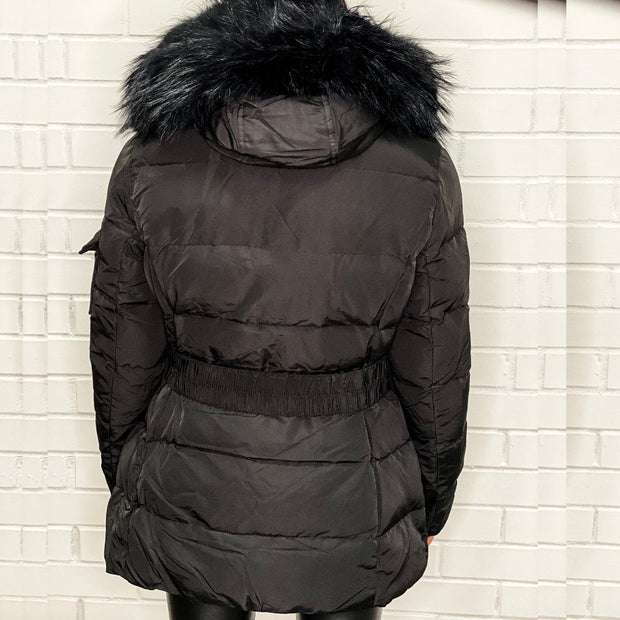 Black Layered Fur Hood belt Puffer Zip Jacket