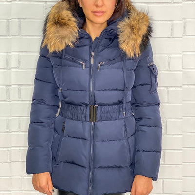 Navy Layered natural Fur Hood belt Puffer Zip Jacket