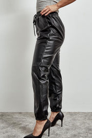 Black faux Leather Loose Joggers With Draw String Waist