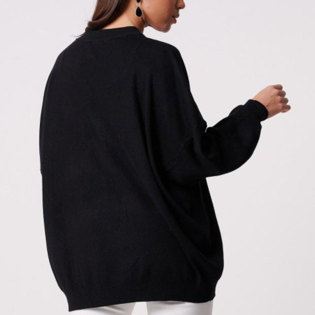 Black Embroidery Lip Knitted Baggy Jumper