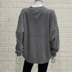 Grey Knitted cream Lip Baggy Jumper