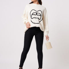 Ivory Knitted Black Lip Baggy Jumper