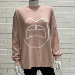 Pink Knitted Black Lip Baggy Jumper