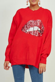 Red Oversized Knitted Jumper With Pink Sequin Lips