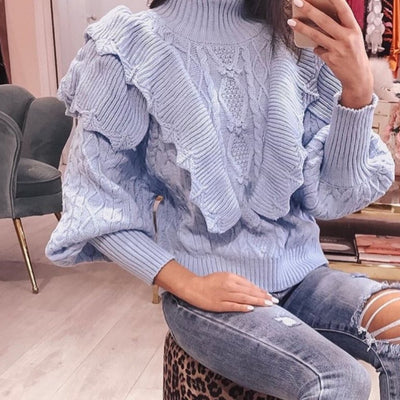 Women's Baby Blue Ruffled Jumper