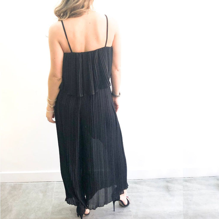 Pleated Strappy XXVI London Jumpsuit Back View
