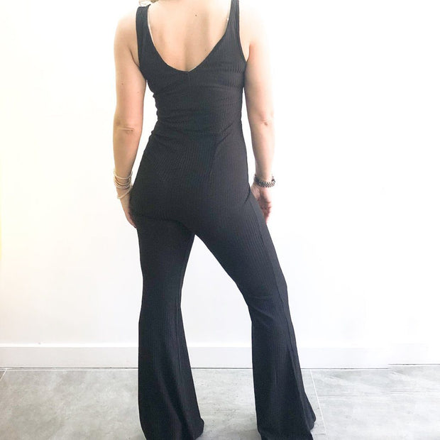 Sleeveless Wide Leg Black Jumpsuit