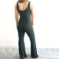 Sleeveless Wide Leg Khaki Jumpsuit