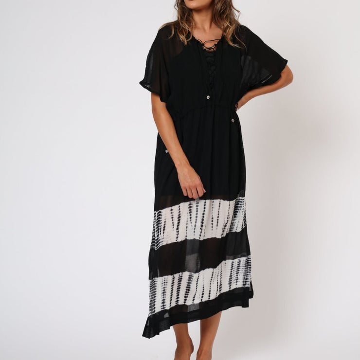 Eclipse Religion Black and White Kaftan Front View