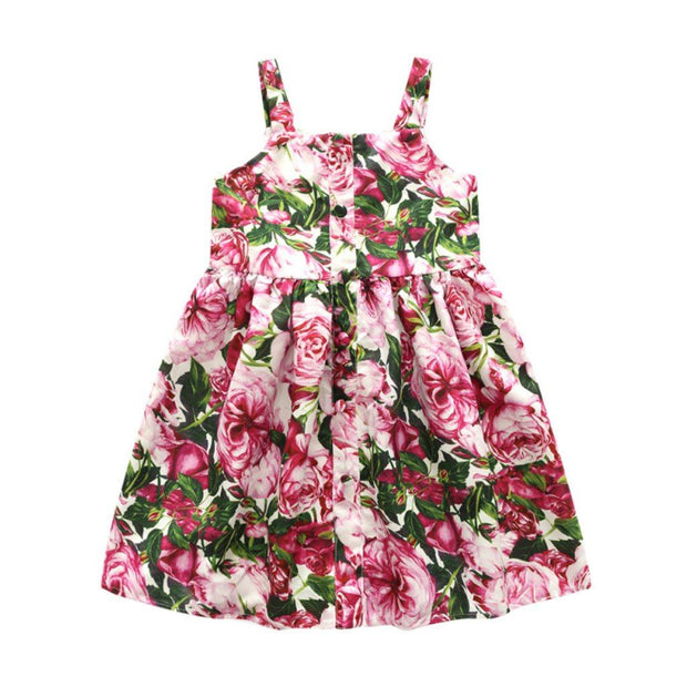 Girl's Floral Print Cotton Party Dress