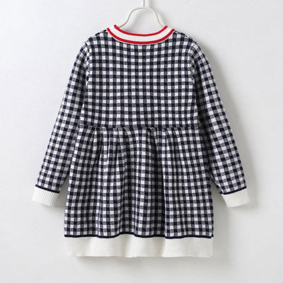 Girl's Checked Knitted Black Dress