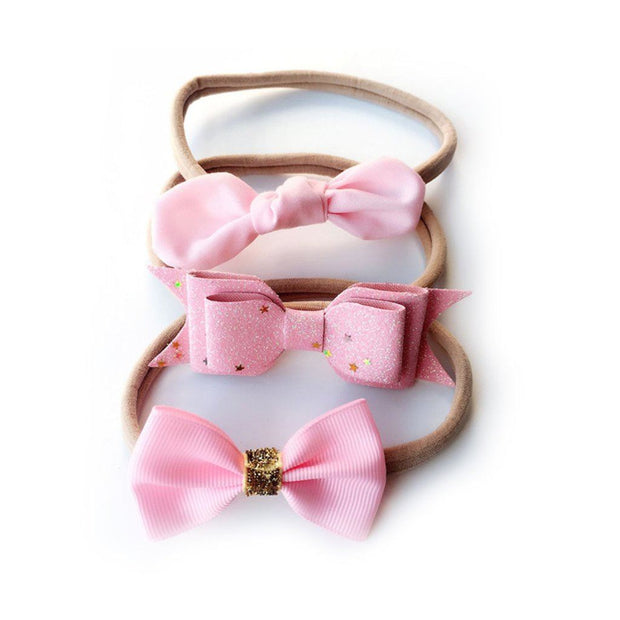 Girl's Set Of Three Pattern Pink Bow Headbands