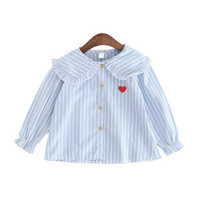 Girls Blue with White Stripe Cotton Blouse