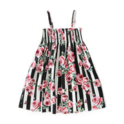 Girls Sleeveless Floral Print Pink & Black Sundress