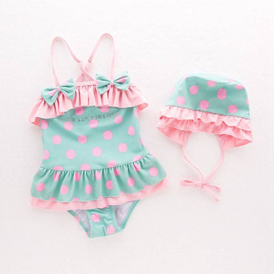Girls Green & Pink Polka Dot Swimsuit Set