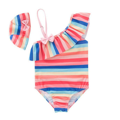 Girls Multi Stripe Frill Swimsuit
