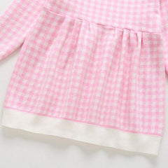 Girls Pink Checked Knitted Dress