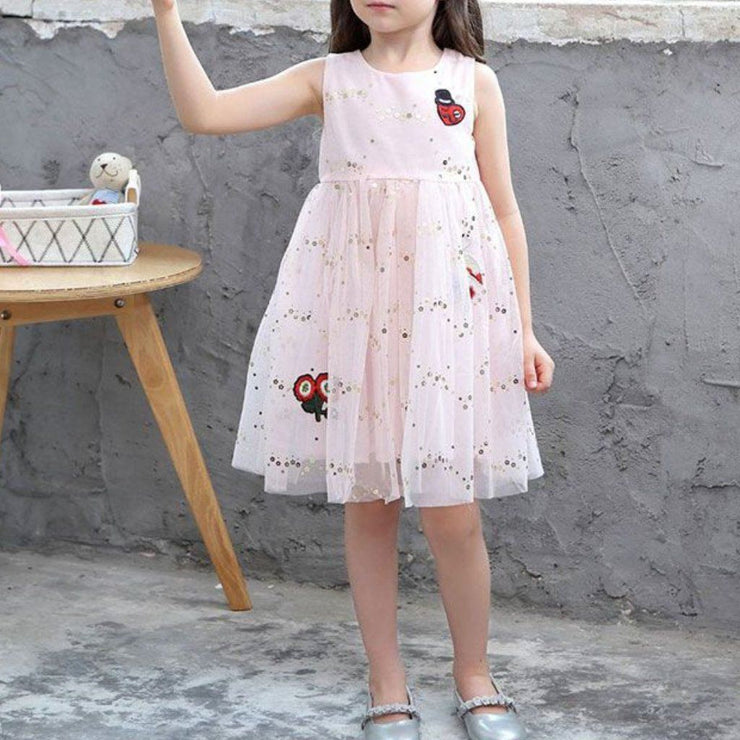 Girl's Gold Sequin Pink Tutu Cotton Dress