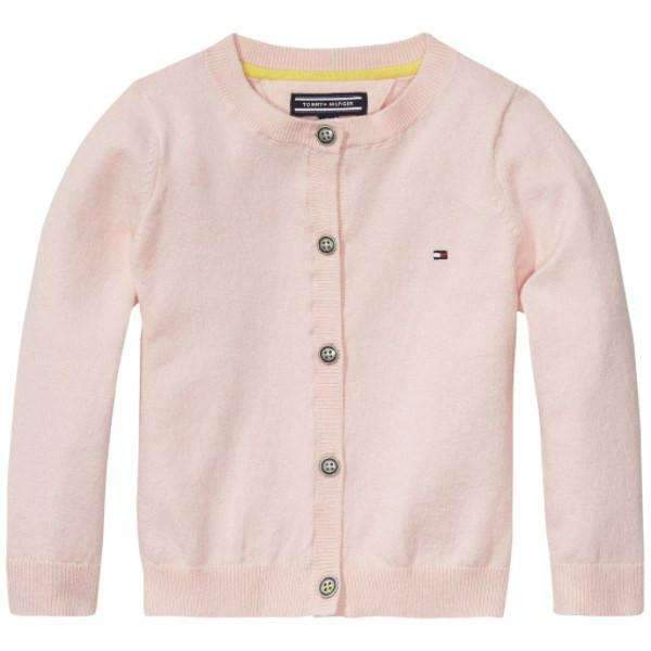 Long Sleeve Tommy Hilfiger Cardigan - Front View - Pink