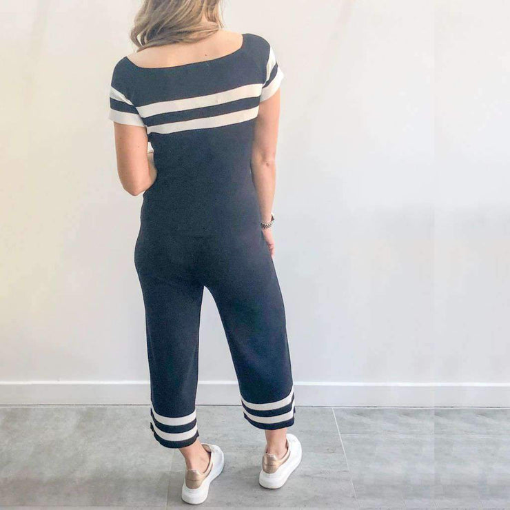 Black Loungewear Set With White Stripe Back View