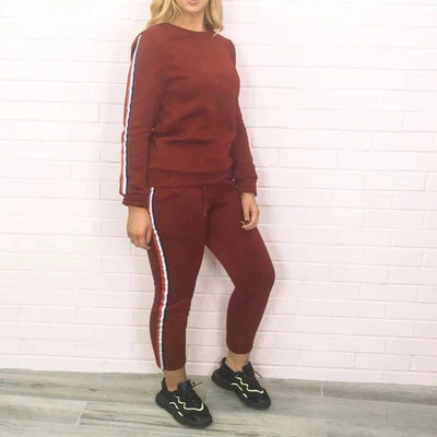 Women's Burgundy Contrast Stripe Lounge Wear