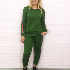 Green Contrast Stripe Lounge Set