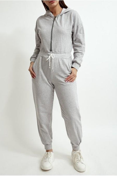 Women's Light Grey Jersey Zip Up Boiler suit