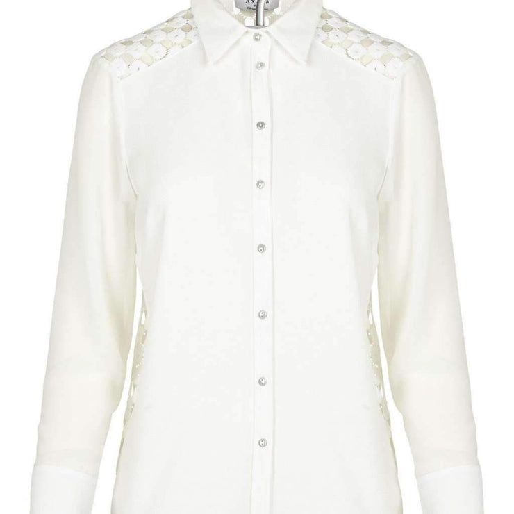 Long Sleeve White Crepe Shirt