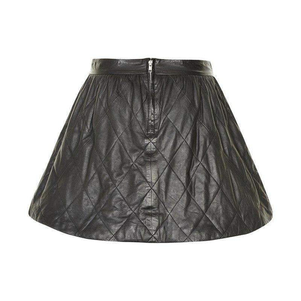 Quilted Black Leather Skirt