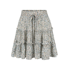 Frilled Green Floral Boho Mini Skirt
