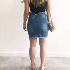 High Waisted XXVI London Denim Skirt Back View