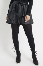 Women's Tiered Black Faux Leather Mini Skirts