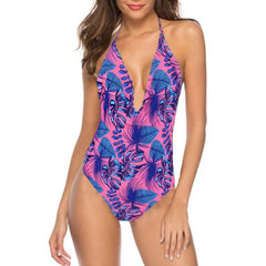 Purple Printed V Neck Swimsuit
